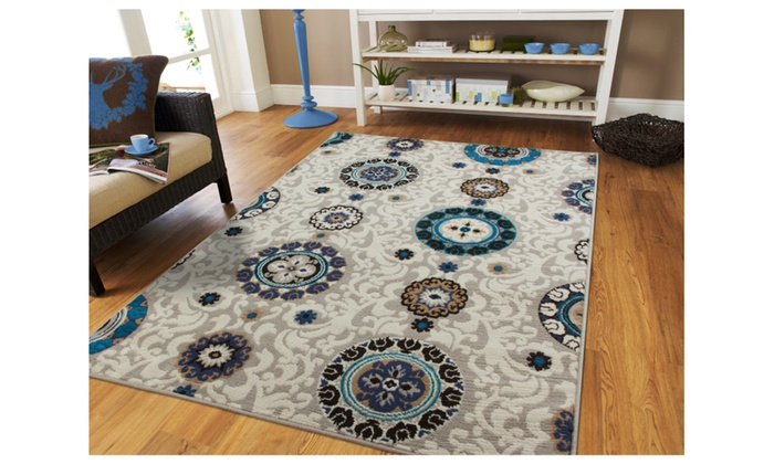 Contemporary beige floral 5x7 rugs blue medallion 5x8 for Dining room rugs 5x7