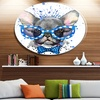 Cute French Bulldog with Glasses' Ultra Glossy Animal Oversized Metal Circle
