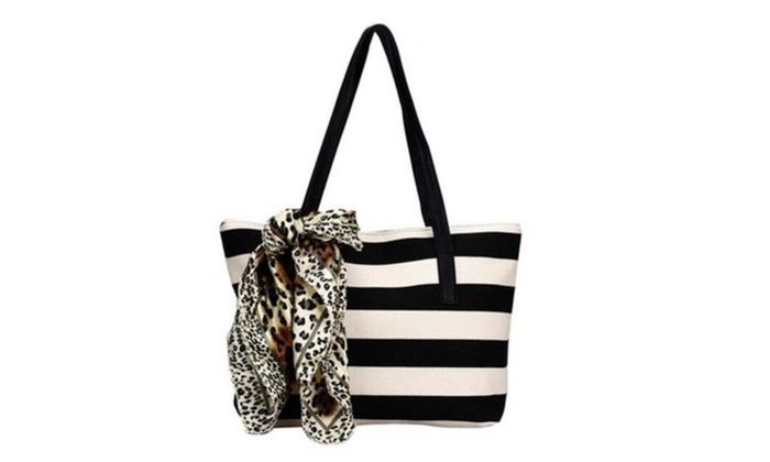 Big Striped Plaid Damas Handbag