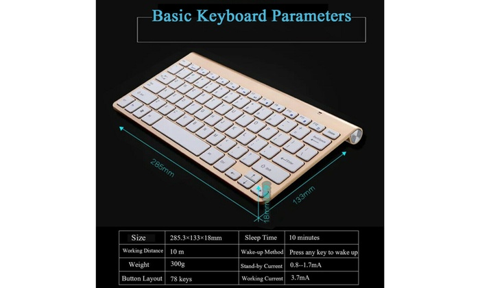 Silver Mini Wireless Keyboard and Mouse Set Waterproof 2.4G for Mac Apple PC Computer