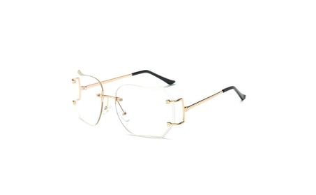 Oversized Retro Clear Lens Rimless Sunglasses Gold Metal Frame 1b8be4c2-9421-484d-baf5-cfaf17bf9444