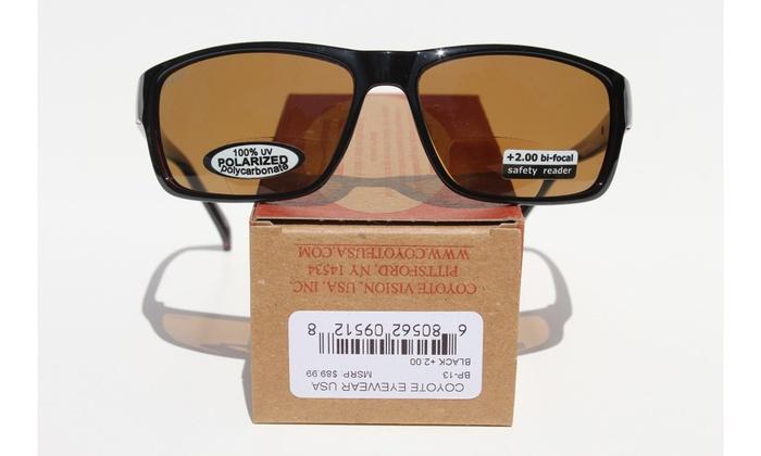 8703c818bad9 Coyote Eyewear BP-13 Plus 2.50 Black-Brown Polarized Reader Sunglass