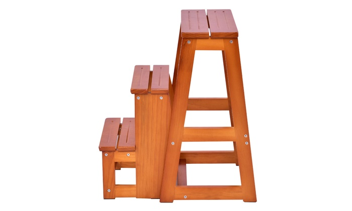 Surprising Wood Step Stool Folding 3 Tier Ladder Chair Bench Seat Gmtry Best Dining Table And Chair Ideas Images Gmtryco