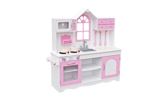 Wood Kitchen Toy Large Pretend Cooking Play Set With Utensils For S