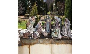 9 Piece Poly-stone Outdoor Nativity Set