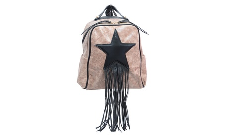 Vegan Soft Leather Star Studded Fringe Fashion Backpack Purse (Goods For The Home Luggage Backpacks) photo