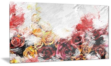 Mixed Roses Floral Metal Wall Art 28x12 dc8cfb3d-b6ba-4596-8e1c-8c6594f3413e