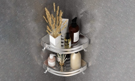 1 or 2 Pcs No Drill Shower Corner Shelf Bathroom Corner Shower Caddy 2 Hooks