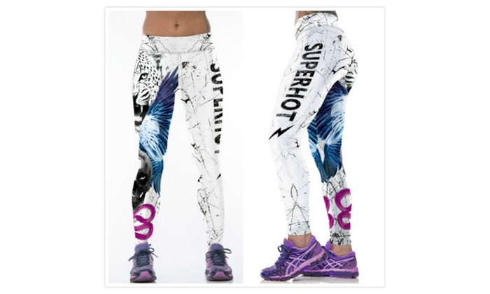 Women's Print Design Graphic Stretch Footless Leggings