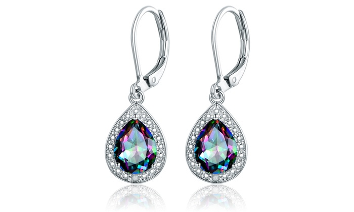 109523068 Lab-Created Topaz with Diamond Accent Teardrop Earrings By Peermont ...