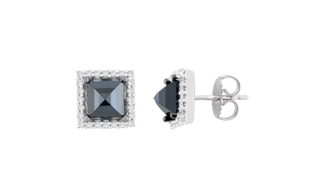 14K White Gold 2 5/8 CTTW Black Princess-Cut Diamond Stud Earrings(H-I,I2-I3) 5c3b2d1b-ff7c-4fb8-8bf0-4b57b6d73955