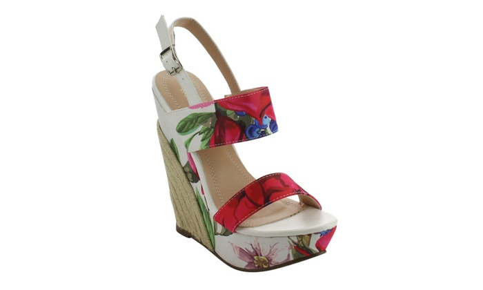 Beston EH85 Women's Floral Printing Platform Espadrille Wedge Sandals