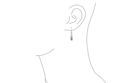 Amethyst Bezel Celtic Knots Sterling Silver Drop Earrings