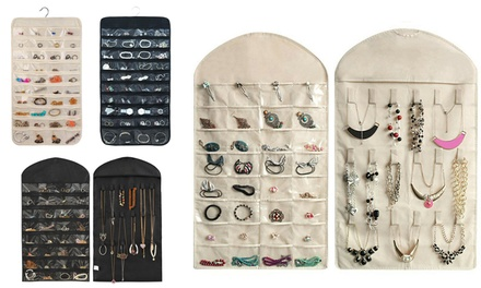 Jewelry Earrings Brooch Hanging Storage Organizer Pocket Holder Bag