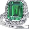 Suzy Levian Sterling Silver Asscher-cut Green Cubic Zirconia Halo Ring