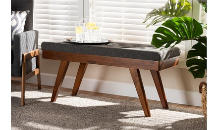 Alona Fabric Upholstered Wood Dining Bench