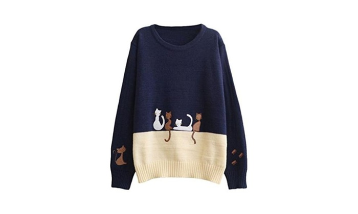 Aza Boutique Women's Preppy Look Color Block Cat Embroidered Sweater