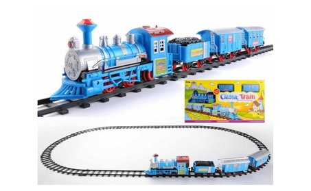 NorthLight Vibrant Blue Battery Operated Lighted Animated Train Set 70b2f348-dcf5-4680-a3ac-55f7f7cb1024