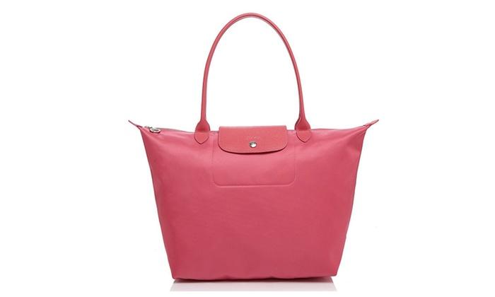 b81387907366 Longchamp Le Pliage Neo Large Shoulder Bag Tote Handbag (Rose Pink ...