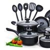 15 Piece Non stick Black Soft handle Cookware Set