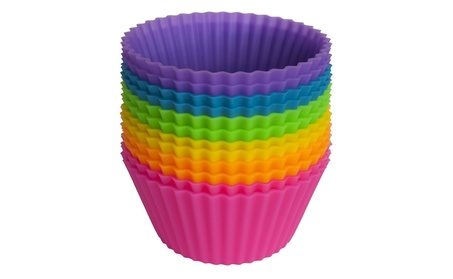 Silicone Cupcake Liners / Baking Cups - 12 Vibrant Muffin Molds 1081c484-1eed-430c-bae2-dbd39cb4c044