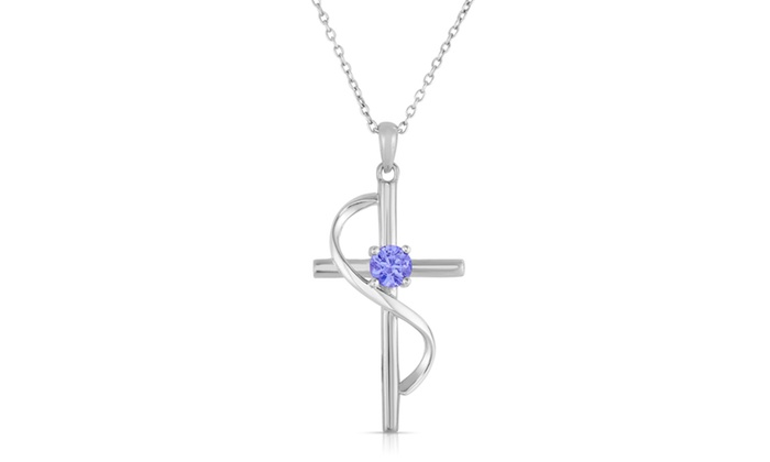 12 cttw genuine tanzanite cross pendant in sterling silver groupon aloadofball Choice Image