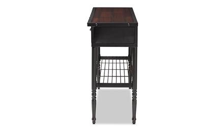 Jana Vintage Industrial Walnut-Finished Wood 2-Drawer Dining Room Server