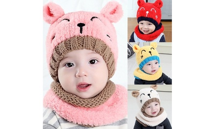 Toddler Girls Boys Warm Hat Winter Beanie Hooded Scarf Earflap Knitted Cap
