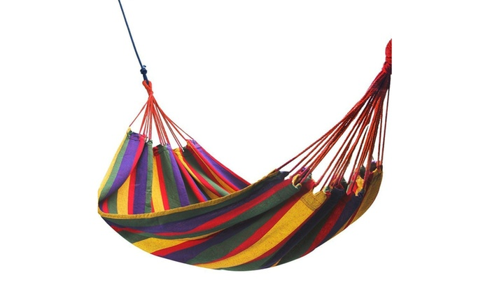 lightweight portable colorful cotton camping hammock for hiking