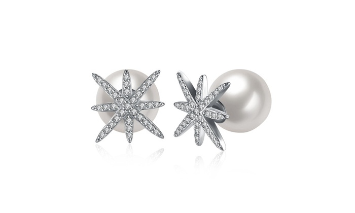 ae7a77b97 18K Gold Plated Pearl Stud Star Cubic Zircon Earrings   Groupon