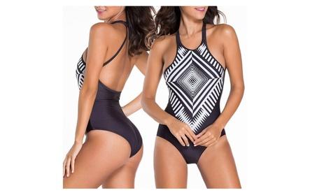 Geometric Women's One Piece Bikini Push up Padded Swimsuit Swimwear c8c94d4d-c241-411e-8767-42407c935fa5