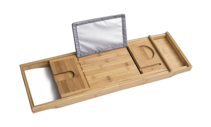 Bamboo Bathtub Tray and Caddy - Expandable Non-Slip Wooden Bath Tray ...