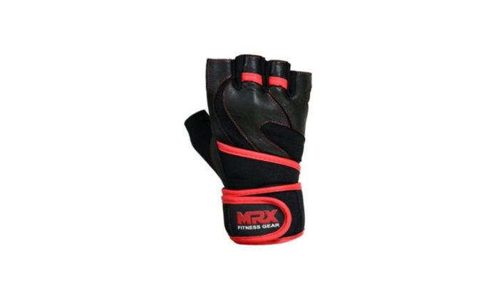 Long Wrist Wrap Padded Strength 4Fit Leather Weight Lifting Gloves