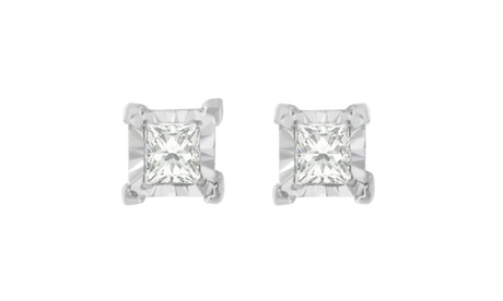 Sterling Silver 3/8ct. TDW Princess-cut Diamond Earrings(H-I,I2-I3) 5e8237f9-63a7-48af-9a3a-e736aebbcac4