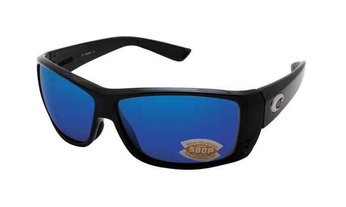 37b0293eaa2 Costa Del Mar Cat Cay AT 11 OBMP Shiny Black   Blue Mirror 580P ...