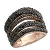 1.57Ct Natural Round Black Diamond Gigantic Ring, 925 Silver Size 7