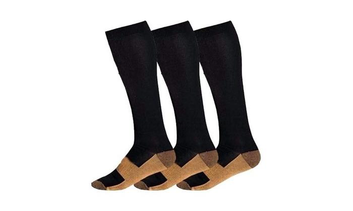 51ae65695f 3 X Pairs Copper Infused Compression Socks 20-30mmHg Graduated Mens Womens  S-XXL