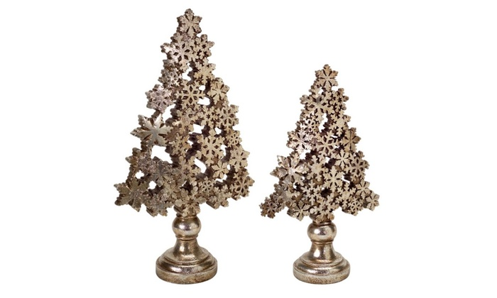 2 Brass Champagne Gold Snowflake Christmas Tree Table Decor 18 5