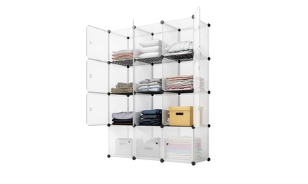 12-Cube Closet Organizer, Plastic Cabinet, Modular Bookcase, Storage Shelving
