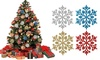 24-60 Pcs Christmas Snowflake Glitter Hanging Ornaments for Xmas Tree Decoration
