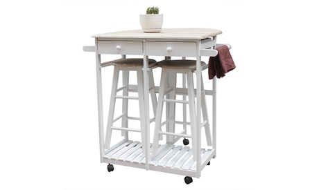 Kitchen Island Trolley Cart 3 Piece Dining Table Set with Wood Table and Stools