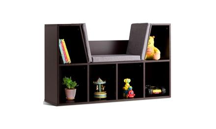 Costway 6 Cubby Kid Storage Cabinet Cushioned Bookcase Multi-Purpose Shelf Brown