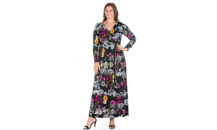 b4df8e9d749 24seven Comfort Apparel Regal Blooms Floral Long Sleeve Plus Size Maxi Dress
