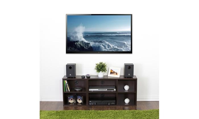Espresso Furinno Indo 2X2 Petite Audio Video Storage Shelf