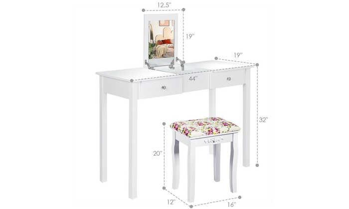 Up To 51 Off On Make Vanity Dressing Table Groupon