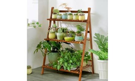 3 Tier Folding Shelf Stand Bamboo Flower Pot Display Rack Bookcase Organizer