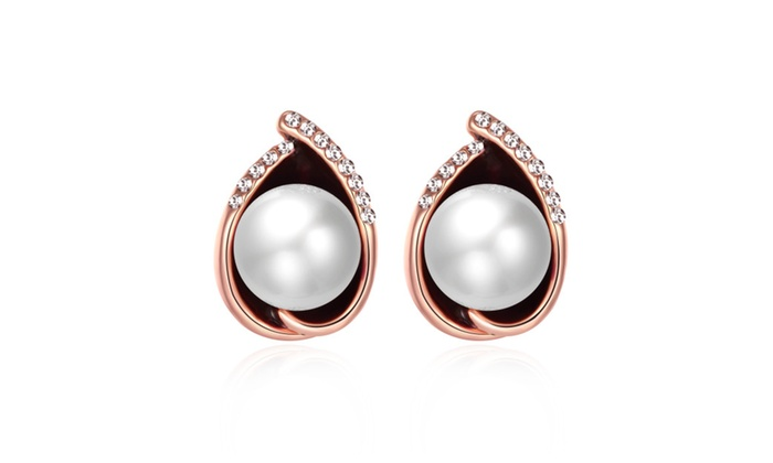 Silver Moon Jewelry: Rose Gold Plated Large Pearl Pear Shaped Earrings