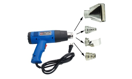 1500W Dual Temperature Heat Gun W/ 4pcs Stainless Steel Concentrator Tips Blue photo