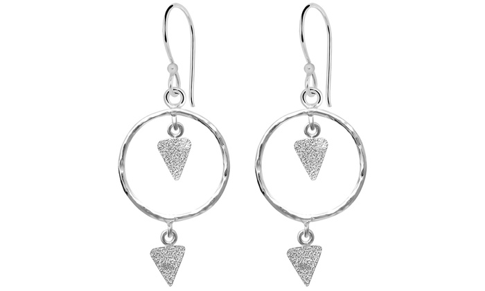 Triangle In Circle Sterling Silver Earrings Plain