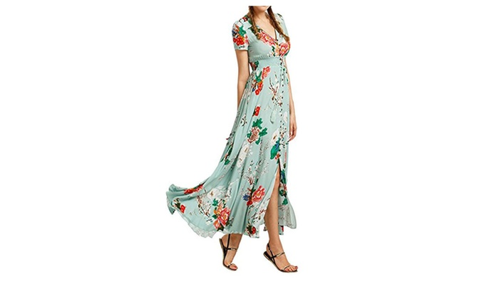 Bohemian Floral Print Short Sleeve V-neck Party Maxi Dress